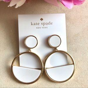 Kate Spade NewYork White Marble Round Earring RARE